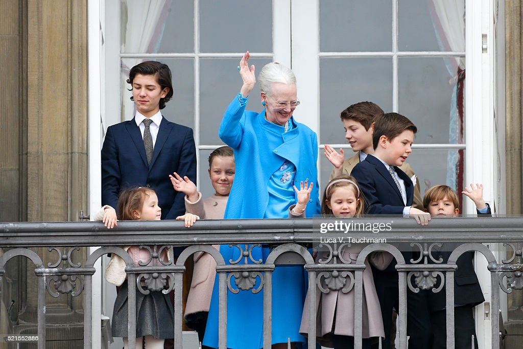 Queen Margrethe II of Denmark, Princess Josephine of Denmark, Princess Isabella of Denmark, Prince Vincent of Denmark, Prince Christian of Denmark, Prince Nikolai of Denmark, Prince Felix of Denmark, Princess Athena of Denmark, Prince Henrik of Denmark, Count of Monpezat the celebrations of her Majesty's 76th birthday at Amalienborg Royal Palace on April 16, 2016 in Copenhagen, Denmark.