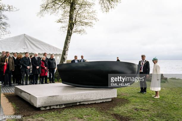 """Queen Margrethe II of Denmark stands at the inauguration of the sculpture """"October 1943"""" by artist Per Arnoldi erected to commemorate the flight of..."""