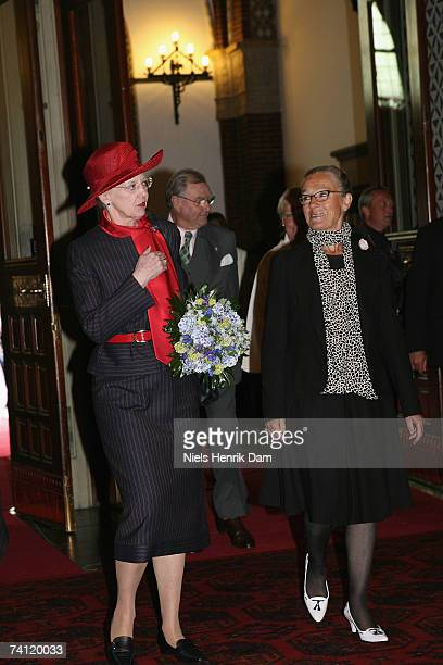 Queen Margrethe II of Denmark visits the City Hall on May 10 2007 in Copenhagen Denmark HRH King Carl XVI Gustaf of Sweden HM Queen Silvia of Sweden...