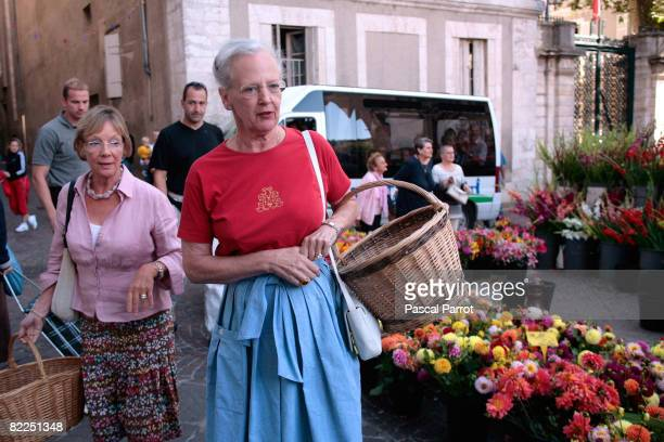 Queen Margrethe II of Denmark visits the local Market on August 9 2008 in Cahors France