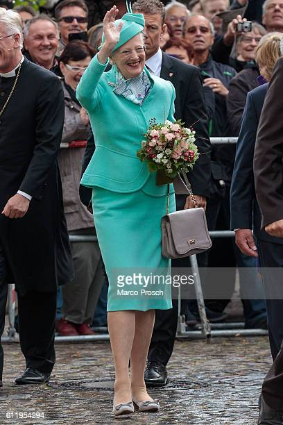 Queen Margrethe II of Denmark visits the reopening ceremony of the All Saints' Church on October 2, 2016 in Wittenberg, Germany.