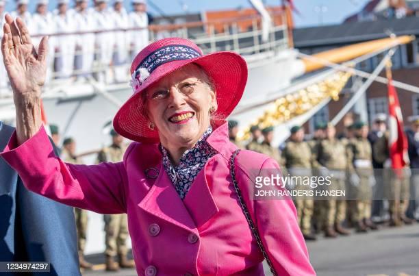 Queen Margrethe II of Denmark waves as she arrives on August 31, 2021 in Esbjerg, Denmark, during her summer voyage. - Denmark OUT / Denmark OUT