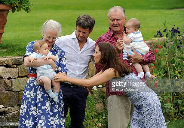 Queen Margrethe II, Prince Consort Henrik of Denmark, Crown Prince Frederik and Crown Princess Mary and the twins Vincent Frederik Minik Alexander...