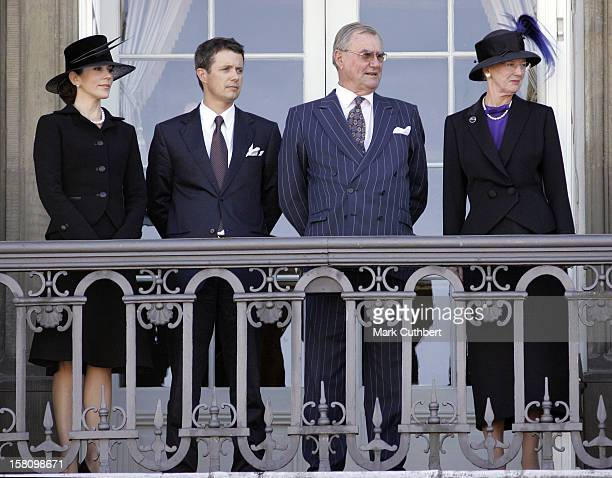 Queen Margrethe Ii Prince Henrik Crown Prince Frederik Crown Princess Mary Watch The Funeral Procession At Amalienborg Palace Copenhagen As Part Of...