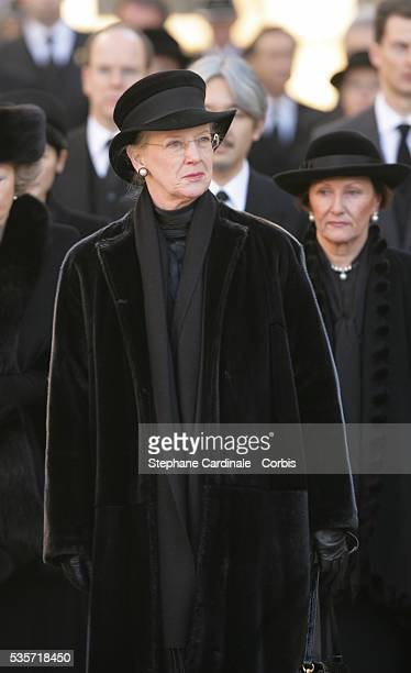 HRH Queen Margrethe of Danemark attends the funeral of Grand Duchess of Luxembourg JosephineCharlotte daughter of former Belgian King Leopold III and...