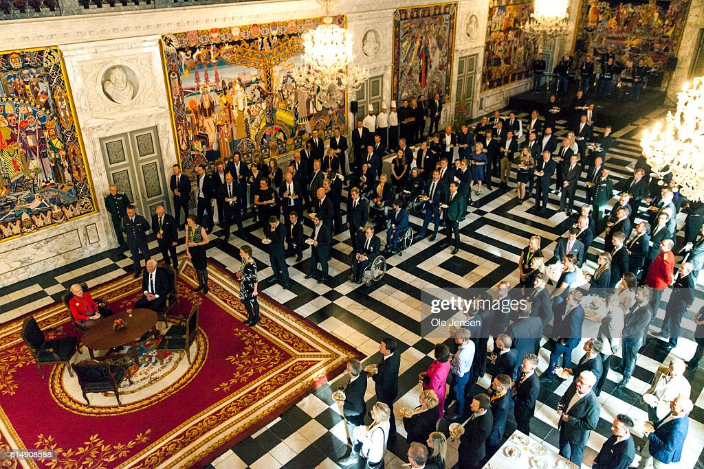 Queen Margrethe of Denamrk (L) holds a reception for the Danish Olympic and Para-Olympic Teams in at Riddersalen (read: Knight's Hall) at Christiansborg on October 14, 2016 in Copenhagen, Denmark.