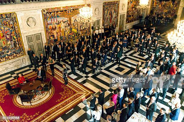 Queen Margrethe of Denamrk holds a reception for the Danish Olympic and ParaOlympic Teams in at Riddersalen at Christiansborg on October 14 2016 in...