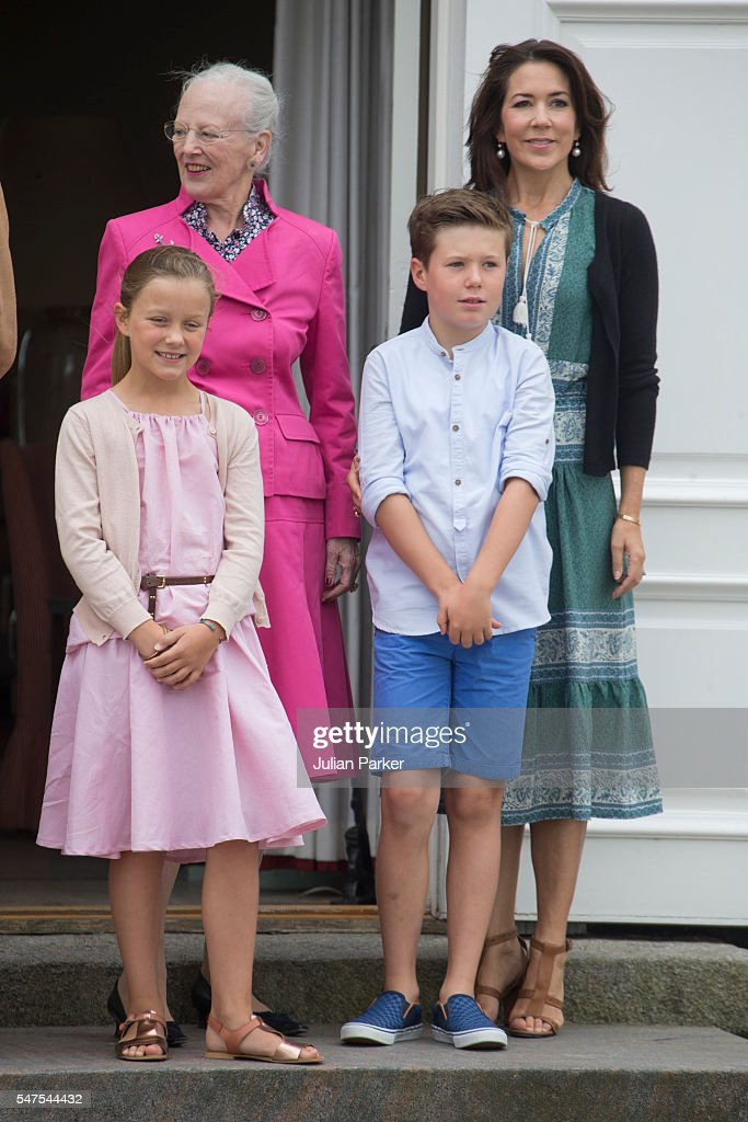 Queen Margrethe of Denmark, and Crown Princess Mary of Denmark, and Prince Christian, Princess Isabella of Denmark, attend the annual summer photo call for The Danish Royal Family at Grasten Castle, on July 15, 2016 in Grasten, Denmark.