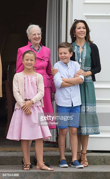Queen Margrethe of Denmark, and Crown Princess Mary of Denmark, and Prince Christian, Princess Isabella of Denmark, attend the annual summer photo...