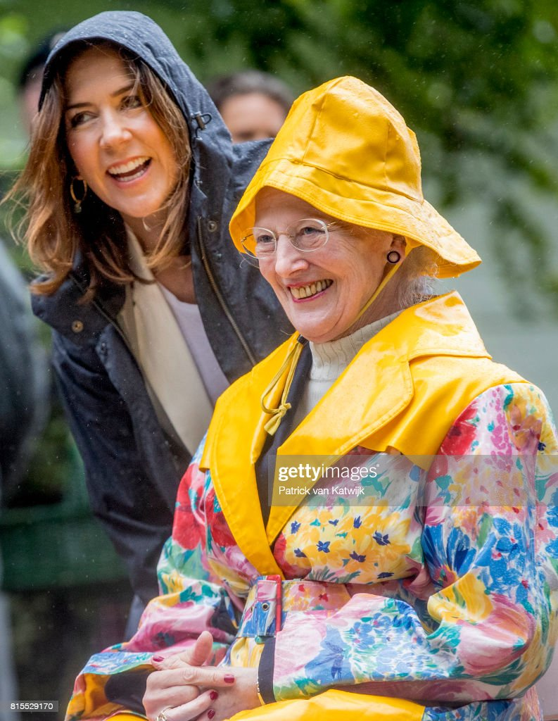 Queen Margrethe of Denmark and Crown Princess Mary of Denmark attend the Ringsted horse ceremony at Grasten Slot during their summer vacation on July 16, 2017 in Grasten, Denmark.