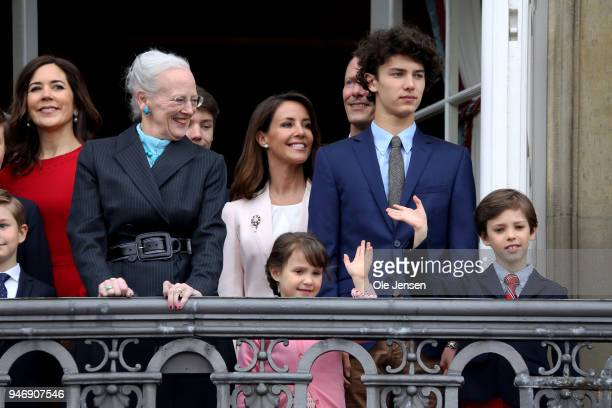 Queen Margrethe of Denmark and family appears at the balcony of the Royal residence Amalienborg Palace on the occasion of her 78th birthday on April...