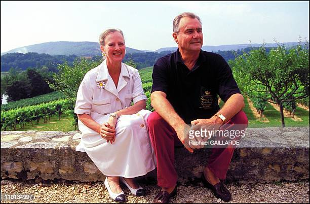 Queen Margrethe of Denmark and Prince Henri at the Caix castle in France in August 1996