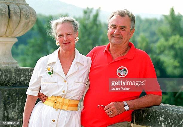 Queen Margrethe of Denmark and Prince Henrik attend a Photocall at their Summer House Chateau de Cayx in Luzech on August 7 in Luzech France