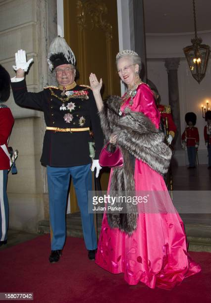 Queen Margrethe Of Denmark And Prince Henrik Attend The Traditional New Year Gala Dinner At Amalienborg Palace In Copenhagen Denmark