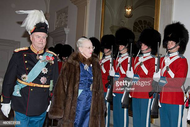 Queen Margrethe of Denmark and Prince Henrik of Denmark attend a New Year's Levee held by Queen Margrethe of Denmark for Diplomats at Christiansborg...