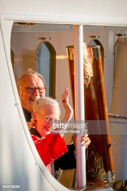 Queen Margrethe of Denmark and Prince Henrik of Denmark attendsthe 18th birthday celebration of Prince Nikolai at royal ship Dannebrog on August 28...