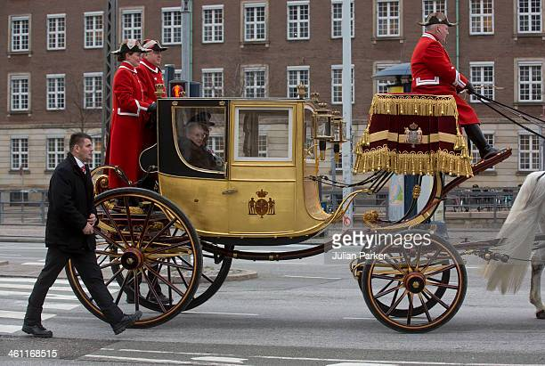 Queen Margrethe of Denmark and Prince Henrik of Denmark depart in the Golden Carriage from the New Year's Levee held by Queen Margrethe of Denmark...