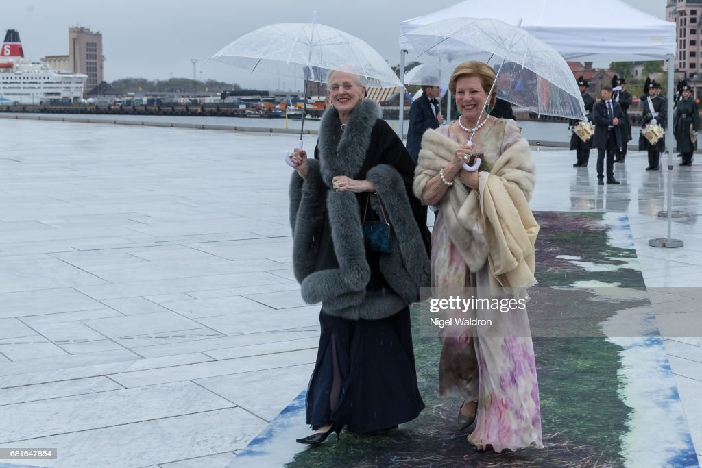 Queen Margrethe of Denmark and Queen Anne Marie, Greece arrives at the Opera House on the occasion of the celebration of King Harald and Queen Sonja of Norway 80th birthdays on May 10 2017 in Oslo, Norway.