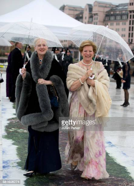 Queen Margrethe of Denmark and Queen Anne Marie of Greece attend a Gala Banquet hosted by The Government at The Opera House as part of the...