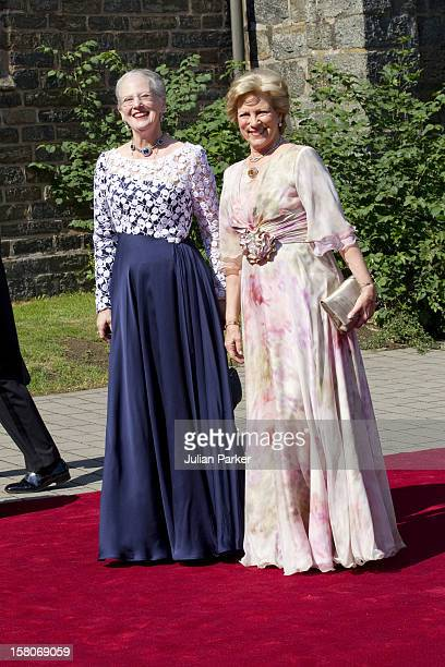 Queen Margrethe Of Denmark And Queen Anne Marie Of Greece Attend The Wedding Of Princess Nathalie Of SaynWittgenstein Berleburg To Alexander...