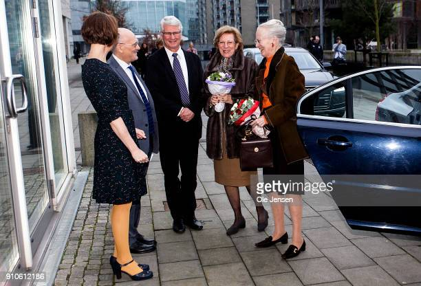Queen Margrethe of Denmark and Queen AnneMarie of Greece arrive to Copenhagen University where they participate at a symposium dedicated to the...