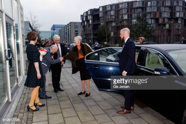 Queen Margrethe of Denmark and Queen Anne-Marie of Greece arrive to Copenhagen University where they participate at a symposium dedicated to the...