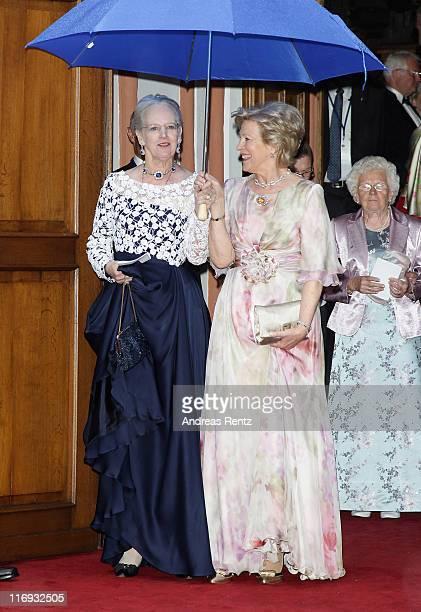 Queen Margrethe of Denmark and Queen AnneMarie of Greece attend the wedding of Princess Nathalie zu SaynWittgensteinBerleburg and Alexander...
