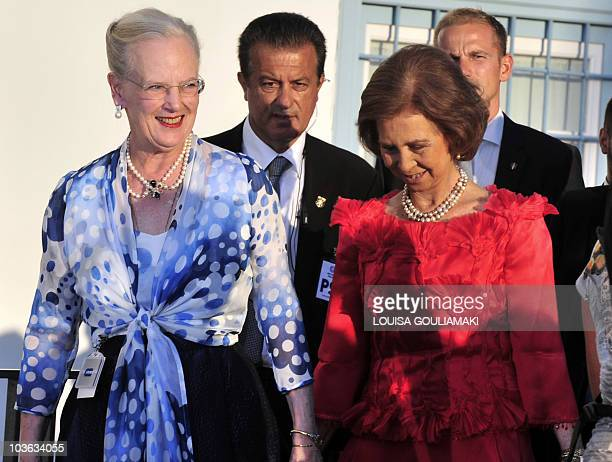 Queen Margrethe of Denmark and Queen Sofia of Spain arrive for the wedding ceremony of Nicolas, second son of Greece's former King Constantine and...