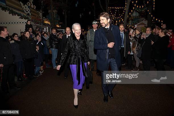 Queen Margrethe of Denmark and Tivoli Director for Culture Nikolaj Koppel arrive to the premiere of the Tarkovsky The Nutcracker ballet in Tivoli...