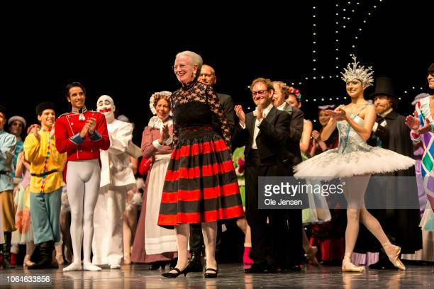Queen Margrethe of Denmark appears on stage during curtain call at the premiere of The Nutcracker Ballet at Tivoli on November 23, 2018 in...