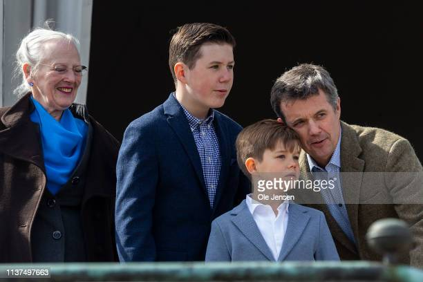 Queen Margrethe of Denmark appears together with Crown Prince Frederik, Prince Christian and Prince Vincent at the veranda on Marselisborg Castle...