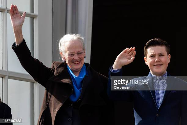 Queen Margrethe of Denmark appears together with Prince Christian at the veranda on Marselisborg Castle during changing of the guard on the occasion...