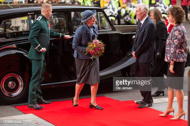 Queen Margrethe of Denmark arrives at Parliament at Christiansborg Palace on October 6, 2020 in Copenhagen, Denmark. Parliament opens for the coming...