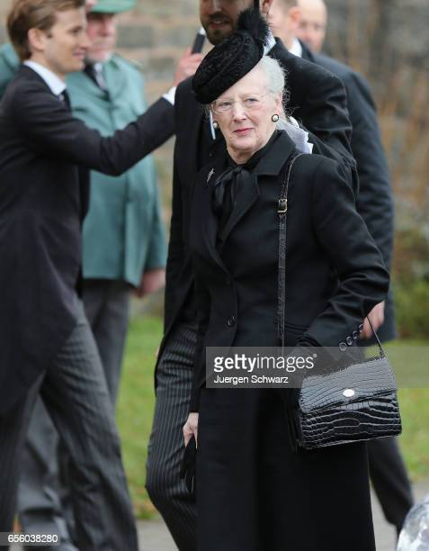 Queen Margrethe of Denmark arrives at the funeral service for the deceased Prince Richard of SaynWittgensteinBerleburg at the Evangelische...