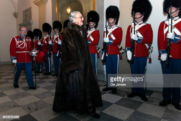 Queen Margrethe of Denmark arrives at the Traditional New Year's Banquet for foreign diplomats hosted by the Queen at Christiansborg Palace on...
