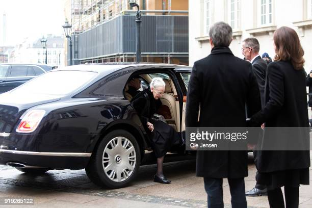 Queen Margrethe of Denmark arrives to arrives to Christiansborg Palace Church where Crown Prince Frederik and Crown Princess Mary await her on...