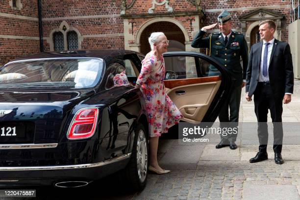 """Queen Margrethe of Denmark arrives to the exhibition opening of """"The Faces of the Queen"""" celebrating Queen Margrethe II of Denmark at Frederiksborg..."""