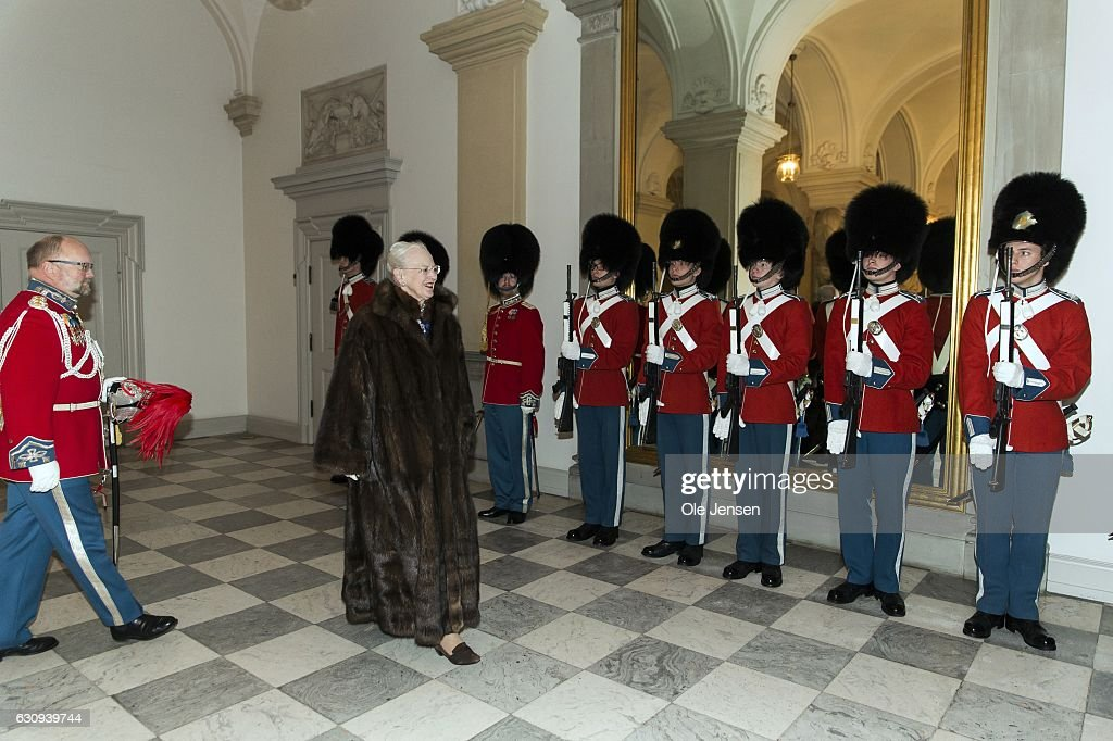 Queen Margrethe of Denmark arrives to the New Year's reception at Christiansborg - the parliament building - which she holds for high ranking military, civil defense and organisations on January 4, 2017 in Copenhagen, Denmark.
