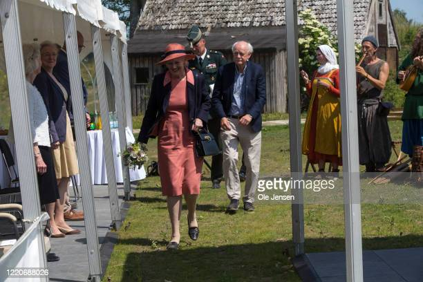 """Queen Margrethe of Denmark arrives to the opening of the world largest Viking Hall at the """"Land of Legends"""" at Lejre open air museum on June 17, 2020..."""