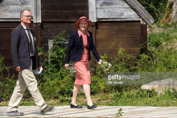 """Queen Margrethe of Denmark arrives to the opening of the world largest Viking Hall at the """"Land of Legends"""" Lejre open air museum on June 17, 2020 in..."""