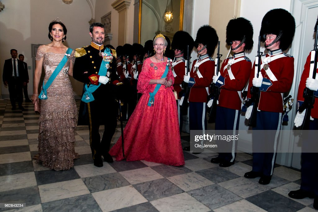 Queen Margrethe of Denmark as host for the evening leads Crown Prince Frederik and Crown Princess Mary to the Knights hall where the gala banquet on the occasion of The Crown Prince's 50th birthday at Christiansborg Palace is held on May 26, 2018 in Copenhagen, Denmark. Some 350 guest participated in the event