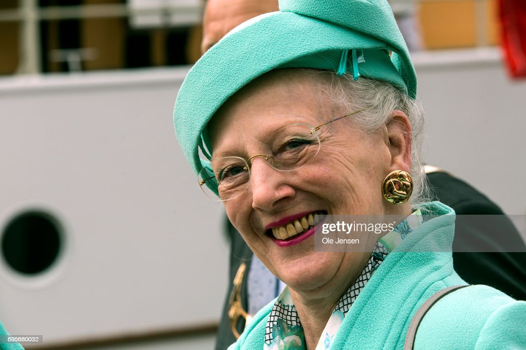 Queen Margrethe of Denmark as seen during her arrival onboard the Royal ship Dannebrog to Kalundborg harbour where she commence a two days visit on June 13, 2017 in Kalundborg, Denmark. During her stay the Queen will visit many public instituions and private entreprises in Kalundborg, which is a city in western Zealand. After this the Royal ship bring her to Mariager in eastern Jutland for another two days visit.