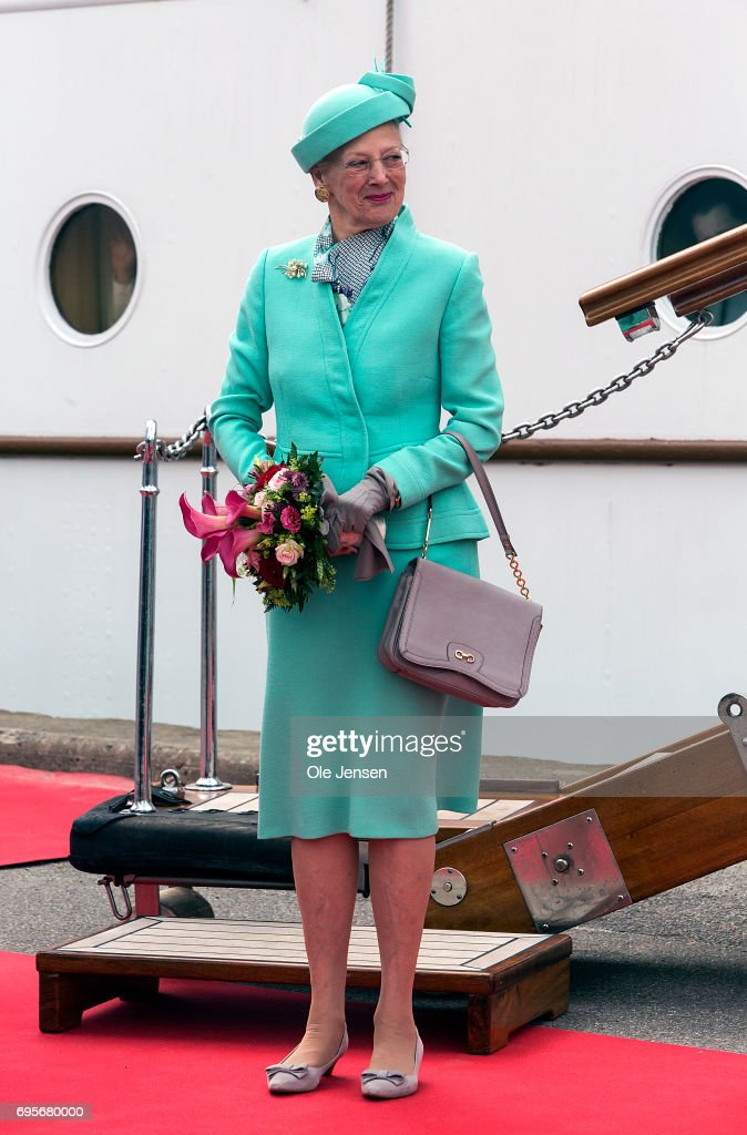 Queen Margrethe of Denmark as seen during herher arrival onboard the Royal ship Dannebrog to Kalundborg harbour where she commence a two days visit on June 13, 2017 in Kalundborg, Denmark. During her stay the Queen will visit many public instituions and private entreprises in Kalundborg, which is a city in western Zealand. After this the Royal ship bring her to Mariager in eastern Jutland for another two days visit.
