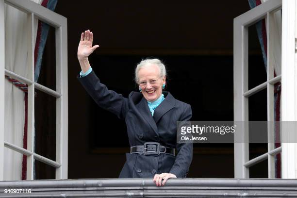 Queen Margrethe of Denmark at the balcony of the Royal residence, Amalienborg Palace, on the occasion of her 78th birthday on April 16, 2018 in...