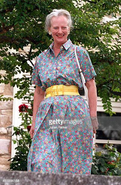 Queen Margrethe of Denmark attends a Photocall at her Summer House Chateau de Cayx in Luzech on August 7 in Luzech France