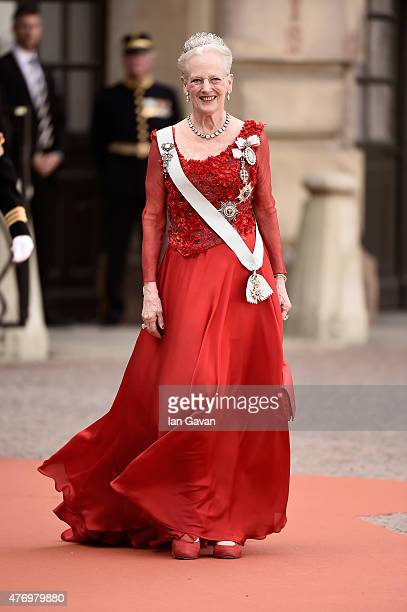 Queen Margrethe of Denmark attends the royal wedding of Prince Carl Philip of Sweden and Sofia Hellqvist at The Royal Palace on June 13, 2015 in...