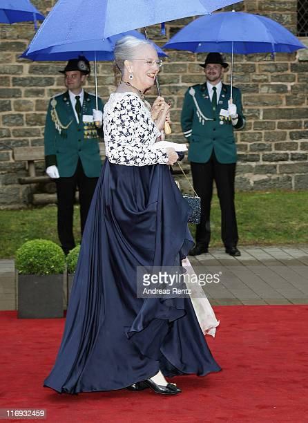 Queen Margrethe of Denmark attends the wedding of Princess Nathalie zu SaynWittgensteinBerleburg and Alexander Johannsmann at the evangelic...