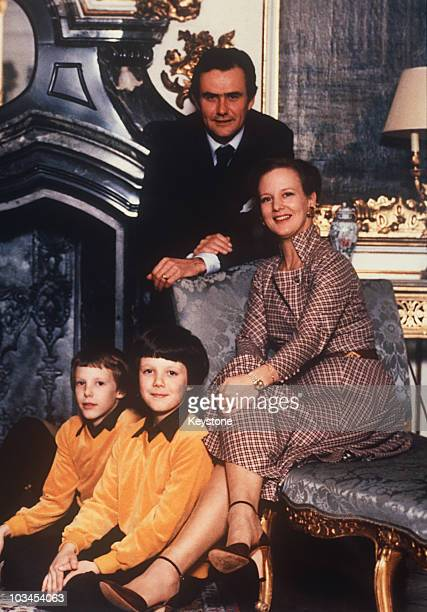 Queen Margrethe of Denmark celebrates her 40th birthday with her husband Prince Henrik and their children Princes Joachim and Frederik on June 16 1980