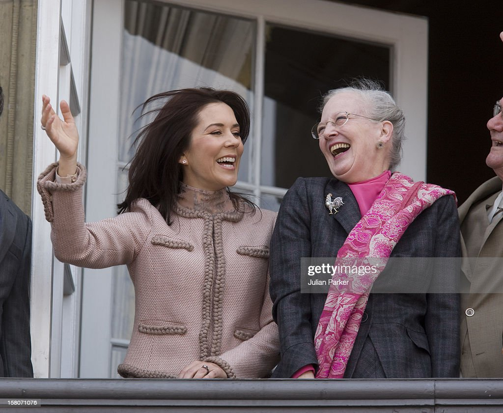 Queen Margrethe Of Denmark Celebrates Her 69Th Birthday With A Balcony Ceremony At Amalienborg Palace In Copenhagen With Members Of The Danish Royal Family.Crown Princess Mary, And Queen Margrethe Of Denmark .