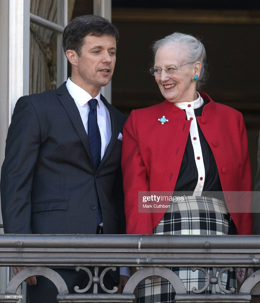 Queen Margrethe of Denmark, celebrates her 73rd Birthday with members of the Danish Royal Family, on the Balcony of Amalienborg Palace at Amalienborg Royal Palace on April 16, 2013 in Copenhagen, Denmark.